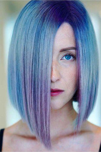 Blue Straight Hair Bob Cut #bluebob #bobhaircuts