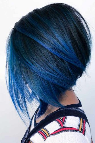 Short Inverted Bob Haircut For Straight Hair #invertedbob #bluebob