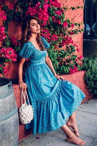 Long Blue Dress With Floral Pattern  #longdress #summerdress