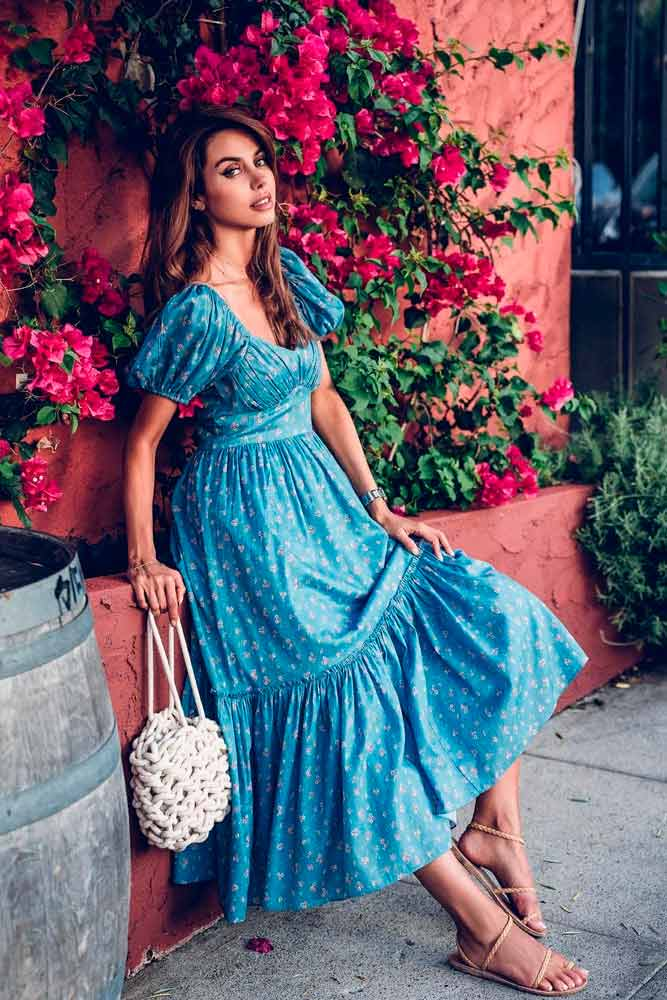 Long Blue Dress With Floral Pattern #longdress #summerdress