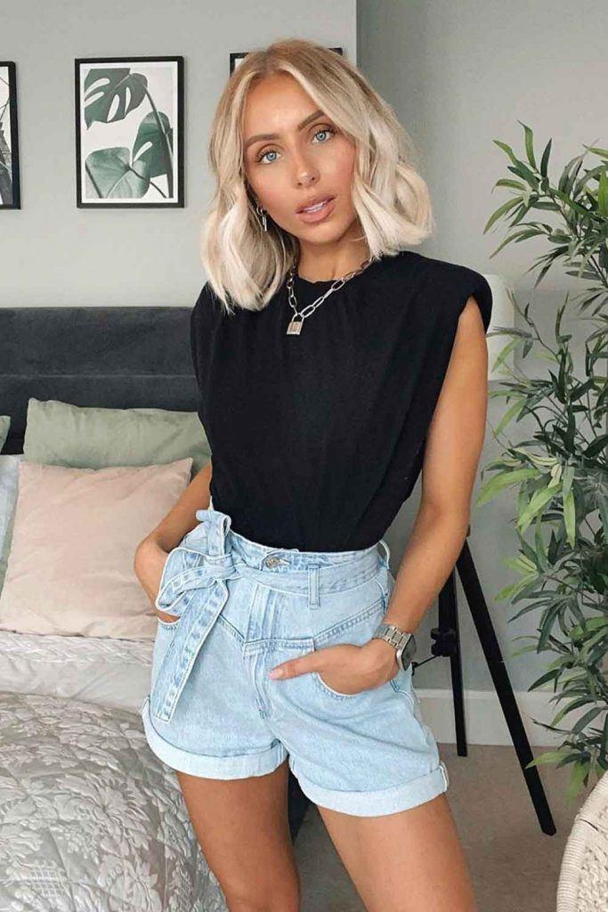 High Waisted Denim Shorts With Black Top #denimshorts