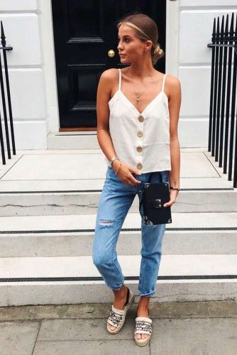 Shortened Jeans And Pure White Blouse #jeans