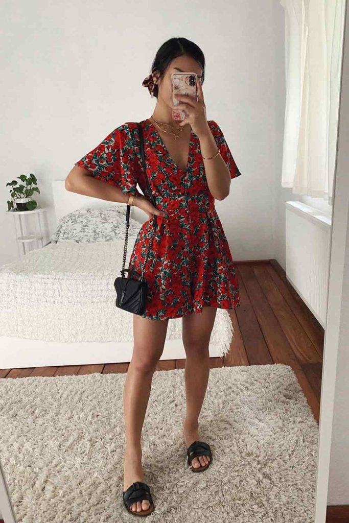 Short summer Dress With Floral Print #floraldress