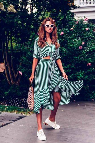 Green And White Suit With The Skirt #summersuits #summerlook