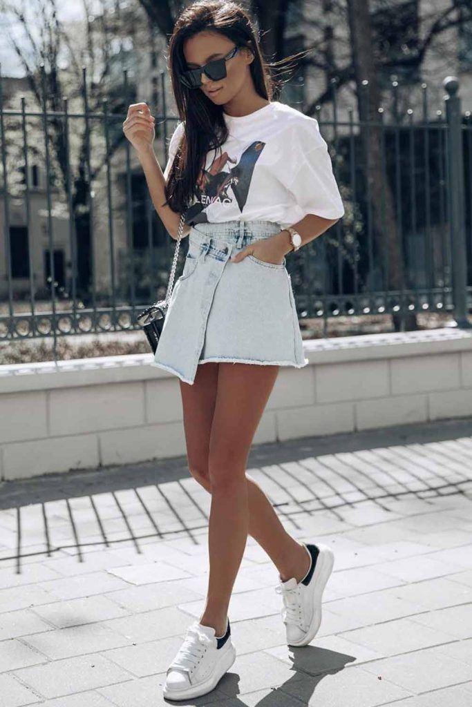 White T-shirt With Denim Skirt Outfit #denimskirt