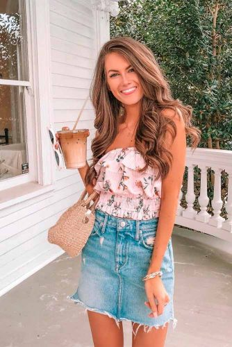 Ruffle Top With Jeans Skirt #ruffletop #jeans