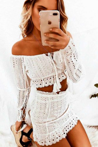 White Lace Top And Mini Skirt #summersuits