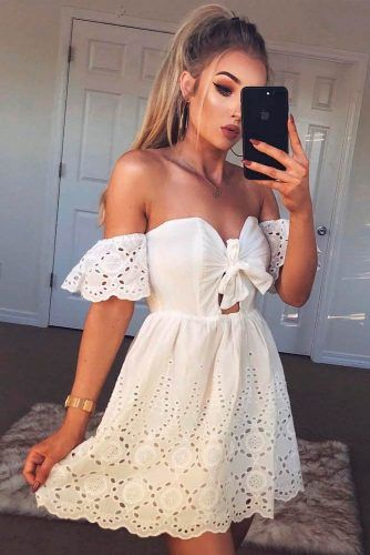 Shoulder-Off White Mini Dress #summerdress #casualdress