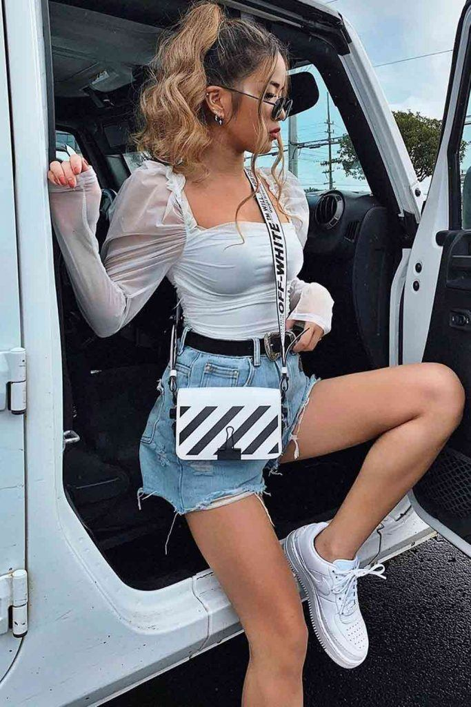 White Blouse With Denim Shorts Outfit #denimshorts
