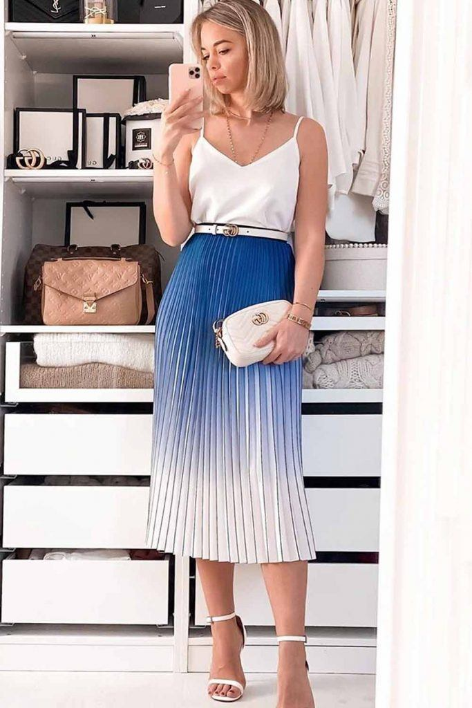 White Top With Tea-Length Ombre Skirt #ombreskirt