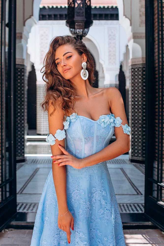 Baby Blue Wedding Guest Dress With Shoulders Off #babybluedress