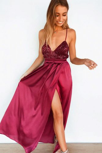 Long Burgundy Drecc WIth Sequins #formaldress #burgundydress