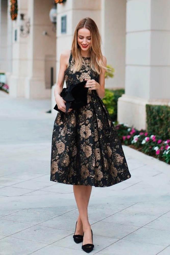 Elegant Bouffant Midi Dress With Gold Roses #cocktaildress #blackdress