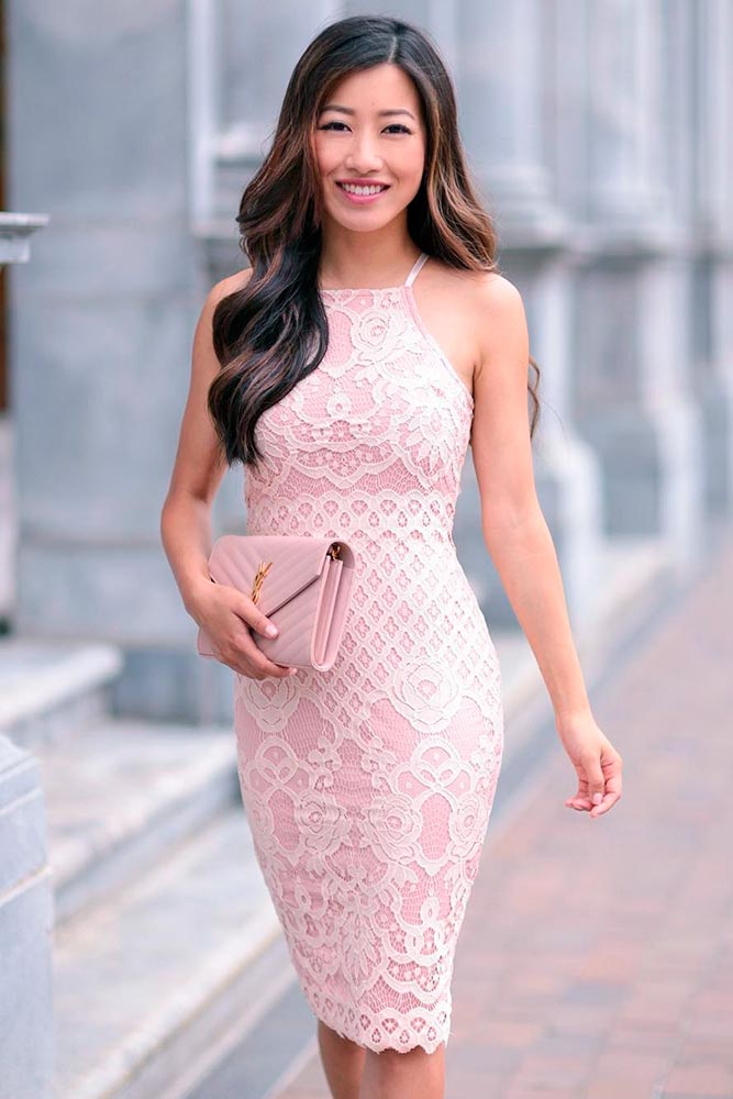 Gentle Pink Wedding Guest Dress With Lace Pattern #pinkdress