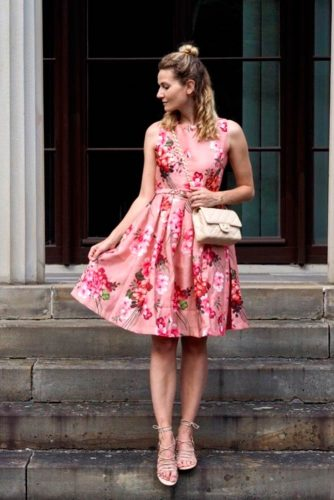 Bright Floral Print Dress #pinkdress