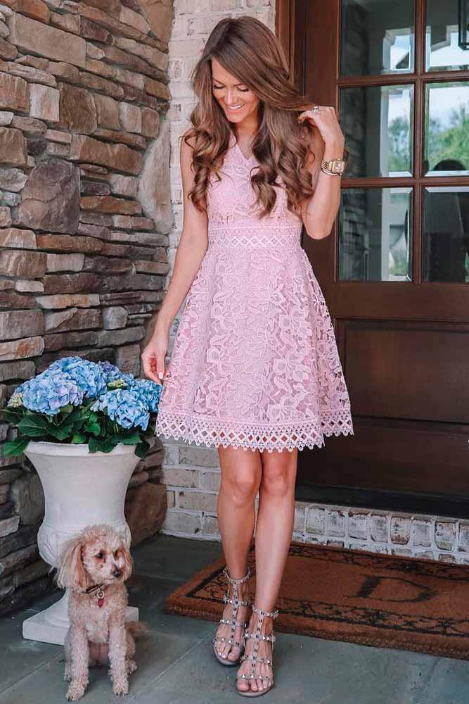 Pink Lace Dress #lacedress #pinkdress