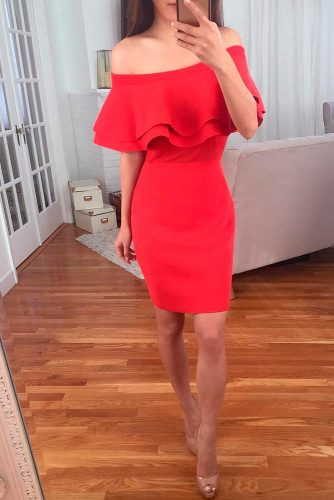 Off The Shoulder Ruffled Dress #reddress #ruffleddress