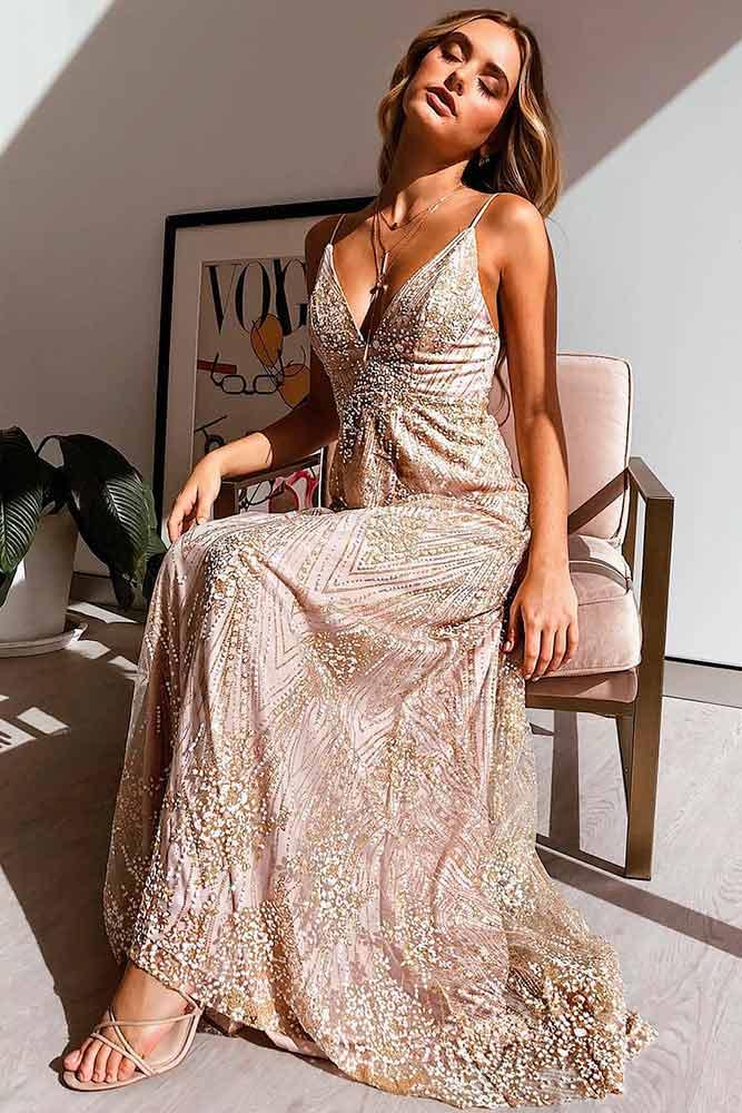 Sparkly Gold Formal Dress #golddress #maxidress