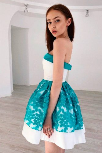 Turquoise Bouffant With Floral Pattern #cocktaildress