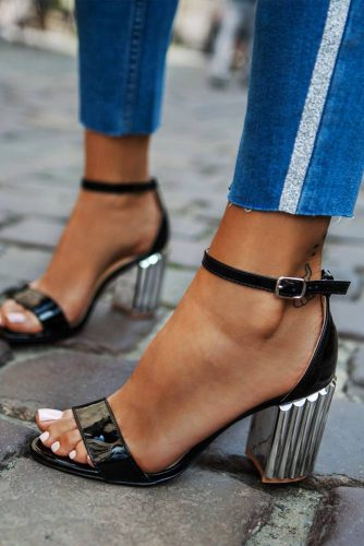 Patent Leather Shoes With Silver Heels #silverheels #anklestrapsandals