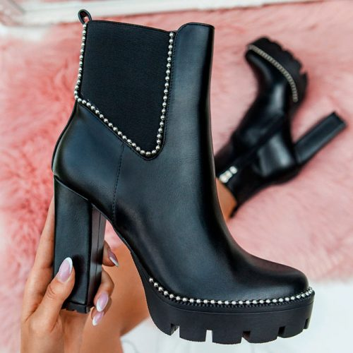 Chunky Platform Boots With Silver Accents #fallshoes #boots #heeledboots