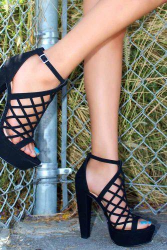Laced Platform Heels #platformheels