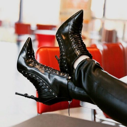 Modern Lace-up Boots With Stilettos #fallshoes #boots #heeledboots