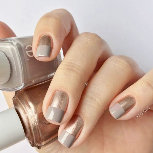 Simple Yet Pretty Geometric Nails #beigenails #geometricnails #metallicnails