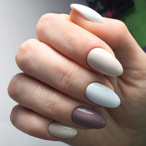 Simple Nail Designs In Pastel Shades #nudenails #ovalnails