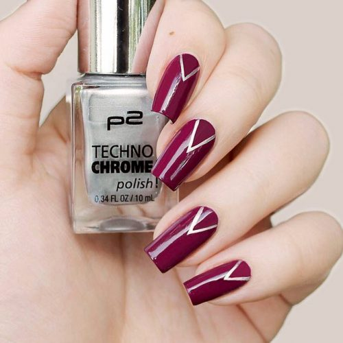 Choose Burgundy V Design And Look Irresistible #burgundynails #stripednails