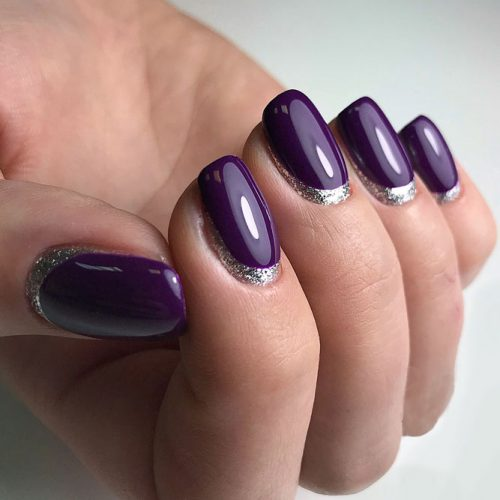 Reverse French Manicure Simple Elegance #plumnails #purplenails #crescentnails
