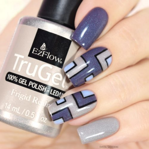 Strict Geometry In Shades Of Grey #greynails #geometricnails