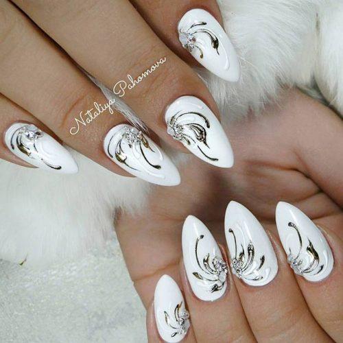 Impressive Liquid Foil Pattern #foilnailart #whitenails
