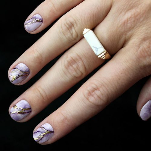 Lilac Marble For Short Office Mani #lilacnails #marblenails