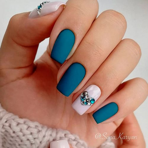 Lovely Matte Nails With Rhinestones #mattenails #rhinestonesnails