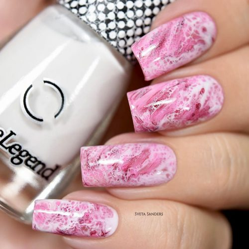 Pink Marble Nails For Dreamy Girls #pinknails #marblenails
