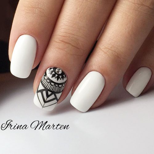 Marvelous White Nails With Tribal Accent #whitenails #tribalnails