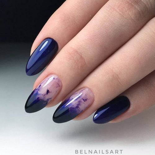 Incredible Inky Nail Design #navybluenails #ovalnails #longnails #ombrenails