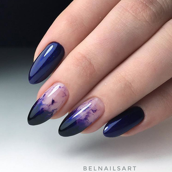 Incredible Inky Nail Design #navybluenails #ovalnails #longnails #ombrenails
