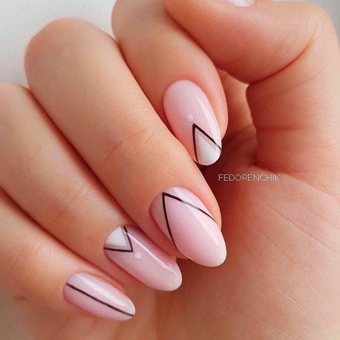 Fabulous Nails In Classy Color Combination #nudenails #geometricnails