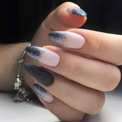 Glitter Ombre For Mesmerizing Manicure #nudenails #graynails #almondnails #longnails #glitternails #ombrenails #glitterombrenails