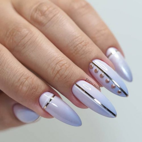 Low Key Nails With Studs And Stripes #lilacnails #almondnails #longnails #ombrenails #stripesnails #studsnails