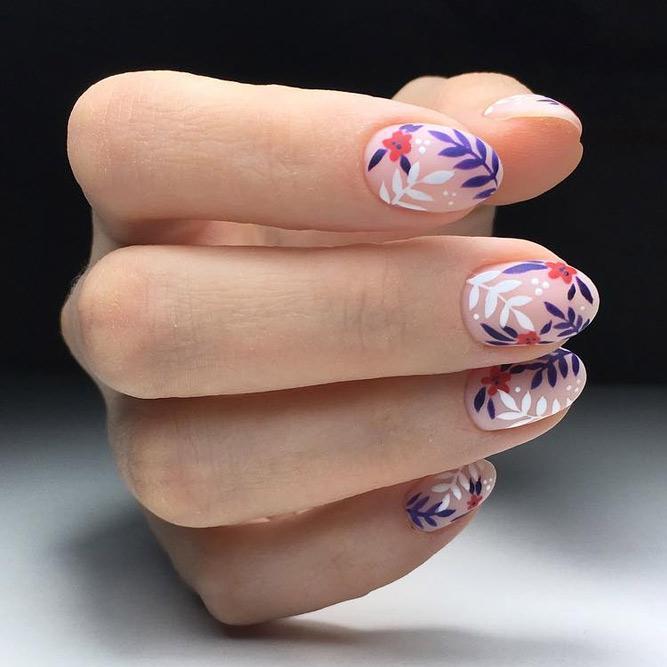 Gently Leafy Art #nudenails #roundednails #shortnails #mattenails #floralnails #leavesnails