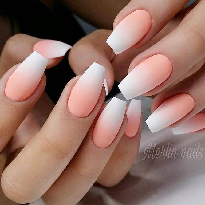 Gorgeous Matte Peach Ombre #peachnails #coffinnails #mattenails #longnails #ombrenails