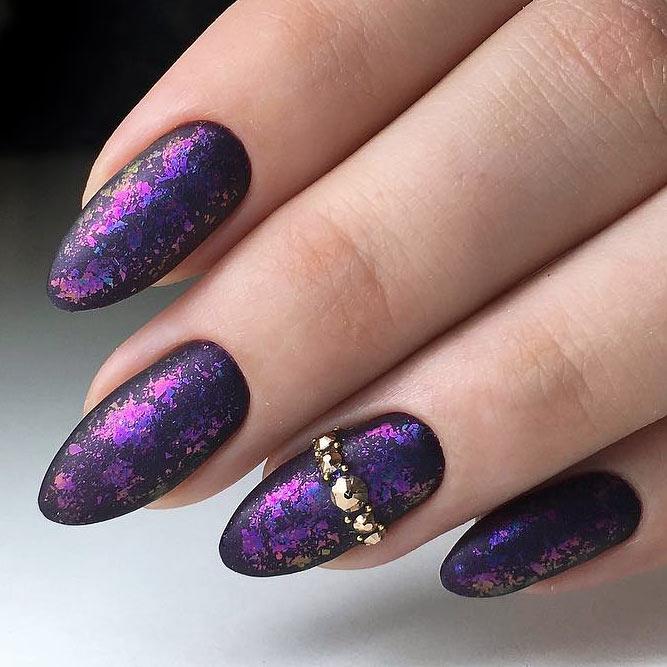 Galaxy Nails Using Nail Foil #blacknails #purplenails #almondnails #foilnails #longnails #mattenails #rhinestonesnails #galaxynails
