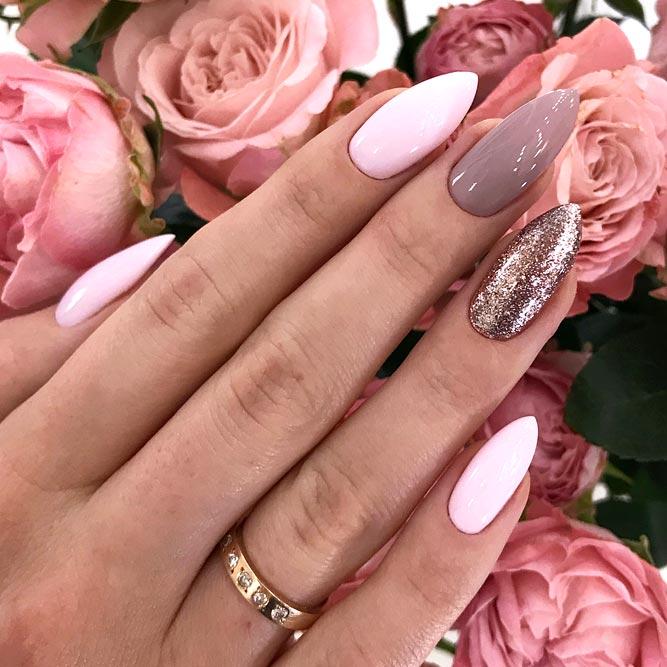 Elegant Manicure With Glitter Accent #pinknails #mauvenails #longnails #almondnails #glitternails