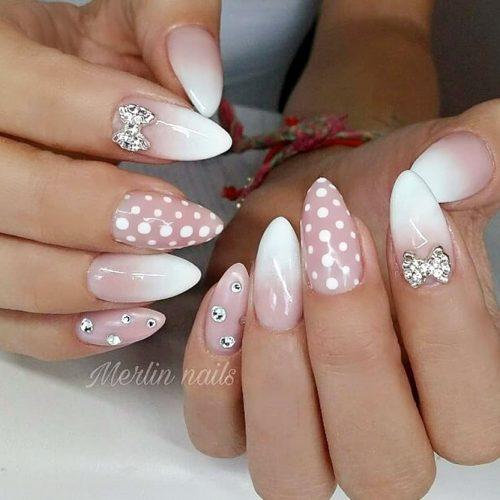 Cute Nails With Polka Dots #nudenails #almondnails #longnails #dotnails #ombrenails #polkadotnails #rhinestonesnails