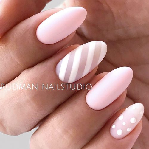 Matte Candy Nails For Sweet Girls #nudenails #pinknails #almondnails #longnails #mattenails #stripesnails #dotsnails