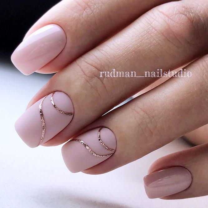 Lined Nude Manicure #pinknails #nudenails #mattenails #squarenails #geometricnails #linednails
