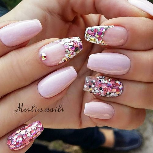 Fancy Nail Design Decorated With Large Sequins #pinknails #longnails #coffinnails #glitternails #frenchtips #sequinsnails